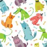 Nahtlose lustige vektorhunde. Stockfoto
