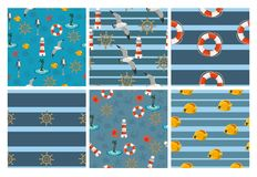 Nahtlose Marinemuster für Tapeten, Einklebebuch und anderen Entwurf Eine Sammlung von 6 Vektormustern lizenzfreie abbildung