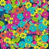 Nahtlose Mehrfarbenmusterfrühlingsnatur Marienkäfer und Blumen für Gewebe und Verpackung Lizenzfreies Stockbild
