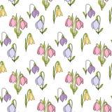 Nahtlose mit Blumenhand gezeichnetes Muster mit Schneeglöckchen auf weißem Hintergrund Stockbild