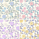 Nahtlose mit Blumenmuster eingestellt Stockbilder