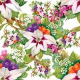 Nahtlose mit Blumentapete in der Aquarellart Stockbild