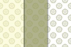 Nahtlose mit Blumenverzierungen des Olivgrüns Satz vertikale Muster Lizenzfreie Stockfotos