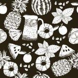 Nahtlose Muster Ananas und Wassermelonen übergeben Zeichnungsart Lizenzfreie Stockfotografie