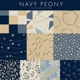 Nahtlose Muster der Marine-Pfingstrose 10 im Satz!!! stock abbildung