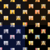 Nahtlose Muster der Nachtstadtfenster eingestellt lizenzfreie abbildung
