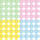 Nahtlose Muster des Blumenginghams Stockbilder