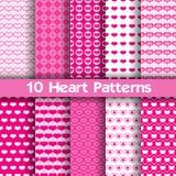10 nahtlose Muster des Herzvektors Rosa und weiße Farben Stock Abbildung