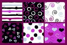6 nahtlose Muster des netten unterschiedlichen Vektors Gewellte Linien, Strudel, Kreise, Bürstenanschläge, Herzen Tupfen und Stre vektor abbildung
