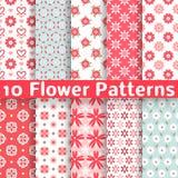 Nahtlose Muster des unterschiedlichen Blumenvektors Lizenzfreies Stockbild