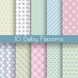 Nahtlose Muster des unterschiedlichen Vektors des Babypastells (Tiling) Lizenzfreie Stockbilder