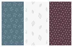 Nahtlose Muster des Vektors mit Blättern und Laub Lizenzfreies Stockbild