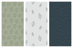 Nahtlose Muster des Vektors mit Blättern und Laub Lizenzfreies Stockfoto