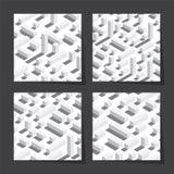 Nahtlose Muster des Vektors stellten mit isometrischen Blöcken und Schatten ein Weißer Hintergrund, weiße Elemente Lizenzfreie Stockbilder