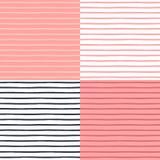 Nahtlose Muster eingestellt mit gemalten Streifen Lizenzfreies Stockbild