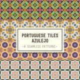Nahtlose Muster eingestellt mit portugiesischen Fliesen Azulejo Lizenzfreie Stockfotos