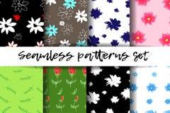 Nahtlose Muster eingestellt Modische geometrische Elemente Moderne abstrakte Auslegung Gut für Textilgewebe Stockbilder