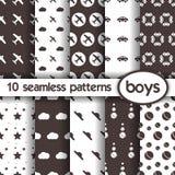 10 nahtlose Muster für Jungen Stockfotografie