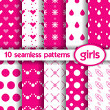 10 nahtlose Muster für Mädchen Vektor Abbildung