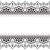 Nahtlose Muster mehndi Grenzelemente in der indischen Art mit Blumen für Tätowierung oder Karte auf weißem Hintergrund Lizenzfreie Stockfotos