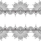 Nahtlose Muster mehndi Grenzelemente mit Blumen für Tätowierung oder Karte in der indischen Art auf weißem Hintergrund Stockfotografie