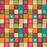 Nahtlose Muster mit bunten Quadraten und Schneeflocken Lizenzfreies Stockbild