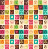 Nahtlose Muster mit bunten Quadraten und Schneeflocken Lizenzfreie Stockbilder