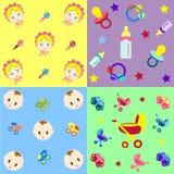 Nahtlose Muster mit einem neugeborenen Kind und Attribute können als Beschaffenheit zum Gewebe, Musterfüllen, Webseitenhintergrun Stockbild