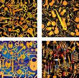 4 nahtlose Muster: Musik, Schlüssel, Verschlüsse, Kerzen Stockfoto