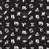 Nahtlose Muster Schwarzweiss-Zeichen des Tierkreises übergeben Zeichnung Vektor Abbildung
