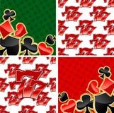777 nahtlose Muster und Kartenklagenhintergründe Stockfotos