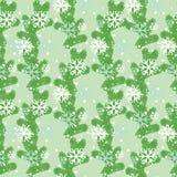 Nahtlose Muster Weihnachtsbaumaste und -schneeflocken Stockfoto