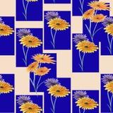 Nahtlose Musteraquarell-Zusammenfassungsverzierung von violetten und gelben Blumen auf dem rosa Hintergrund Lizenzfreie Stockbilder