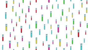 Nahtlose Musterbeschaffenheit von endlosen wiederholenden wissenschaftlichen Glasreagenzgl?sern der langen mehrfarbigen medizinis stock abbildung