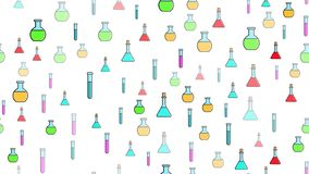 Nahtlose Musterbeschaffenheit von endlosen wiederholenden wissenschaftlichen Glasreagenzgl?sern der mehrfarbigen medizinischen Ch lizenzfreie abbildung