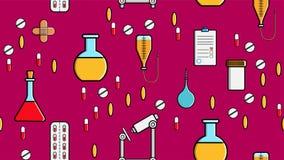 Nahtlose Musterbeschaffenheit von Medizineinzelteilen, die Ikonen Pillen sticht, pipettiert Stethoskopwerkzeugdoktor Flaschen Dos vektor abbildung