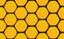 Nahtlose Musterbienenwabenhexagone auf schwarzem Hintergrund Stockfotografie
