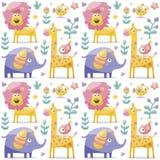 Nahtlose Musterelefanten, Löwe, Giraffe, Vögel, Anlagen, Dschungel, Blumen Stockfotografie