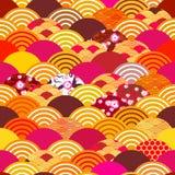 Nahtlose Musterfischschuppen einfacher Naturhintergrund mit Japanerkirschblüte-Blume, rosige rosa Kirsche, Wellenkreis-Musterblau lizenzfreie abbildung