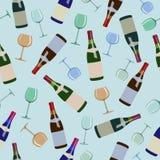 Nahtlose Musterflaschen Wein und Gläser Stockfotografie
