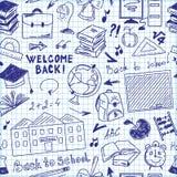 Nahtlose Musterfreihandzeichnenzeichnung des Schulbedarfs Stockbild