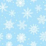 Nahtlose Musterhand der Schneeflocken gezeichnet Stockbild