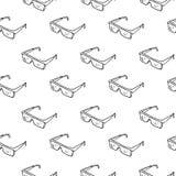 Nahtlose Musterhandgezogene Schutzgläser Gekritzelschwarzes ske stock abbildung