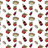 Nahtlose Musterhandgezogener bunter Kolabaum und Pommes-Frites und Würstchen Gekritzelschwarzskizze Zeichensymbol Eingelassenes G stock abbildung