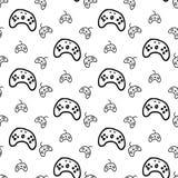 Nahtlose Musterhandgezogenes gamepad Gekritzelschwarzskizze Zeichensymbol Eingelassenes Genua, Italien Getrennt auf weißem Hinter lizenzfreie abbildung