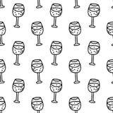 Nahtlose Musterhandgezogenes Weinglas Gekritzelschwarzskizze sig vektor abbildung