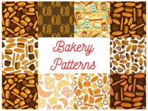 Nahtlose Musterhintergründe der Bäckereibrotprodukte Lizenzfreie Stockfotografie