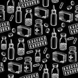 Nahtlose Musterhintergrundmedizinische ausrüstung Lizenzfreies Stockfoto