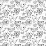 Nahtlose Musterillustration des Kaktus Stockbilder