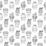 Nahtlose Musterillustration des Kaktus Lizenzfreie Stockfotos